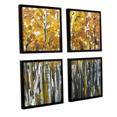 ArtWall Melissa Lyons's 'Fall Trees' 4 Piece Floater Framed Sqare Set