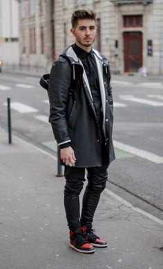Black outfit : - Jacket Stutterheim - Pants by LANOIR - Air jordan 1 Bred - Model: Nicolas Lauer - Photograph : Lucas Jesus Chaunay
