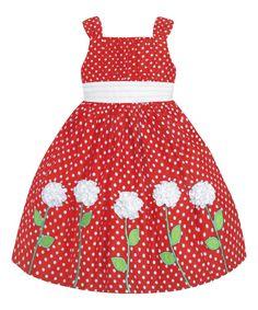 Red & White Polka Dot Flower Dress - Infant, Toddler & Girls
