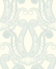 Yolande (W0039/07) - Clarke & Clarke Wallpapers - A large scale delicate lace effect damask design. Shown in the Mineral grey blue on cream colourway. Please request sample for true colour match. Paste the wall.
