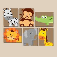 SAFARI Animal Wall Art Animal Nursery Artwork Zoo von TRMdesign
