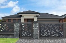 Gate Wall Design, House Fence Design, Modern Fence Design, Stair Railing Design, Backyard Garden Design, Architect Design House, Balustrades, Gate House, Entrance Gates