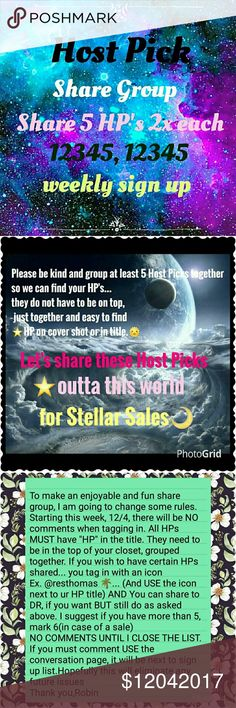 HPSG 12/4 Weekly sign up sheet CLOSES 5pm EST Host Pick Share Group This share group is going to help us sell the beautiful host picks given to us by our fellow poshers.💜 You must have at least 5 Host Picks to join. You must be posh compliant. We are sharing 5 HOSTpicks 2x each as 12345, 12345...This is a weekly sign up. So please make sure you can do all week. And sign out date when finished🌴⛵Now taking 2 days off, make sure you date those too💝 Thank you ladies  Robin Other