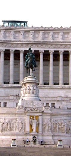 958b700454ae The middle section of the Altare della Patria monument building with the  equestrian statue of Victor