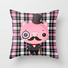 Gentlemen Pig Throw Pillow by Amber Galore Design - $20.00