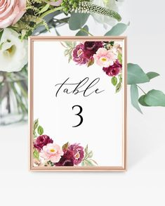 Boho Table Number Card Template, Printable Burgundy Floral and Gold Wedding Table Number, Editable, Printable DIY Seating Card Template Wedding Program Sign, Card Templates Printable, Seating Chart Wedding Template, Seating Cards, Wedding Table Numbers, As You Like, Gold Wedding, Edit Text, Place Card Holders