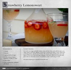 """Wonderful subtle flavors imparted by the herbs and strawberries."" MORE RECIPES: http://itsh.bo/LQC1sC #gameofthrones #strawberries #drinks #lemonade #food"