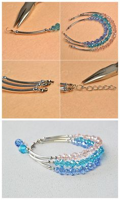 Crystal Glass Beaded Three-Strand Bracelet