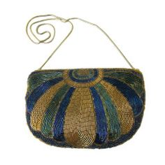 Vintage Art Deco Egyptian Style  Beaded Clutch Hand bag-Gold & Blue
