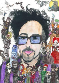 Tim Burton by on DeviantArt Tim Burton Johnny Depp, Tim Burton Art, Fanart, Joker Art, Nerd Art, Helena Bonham Carter, Custom Lego, Actors, Beetlejuice