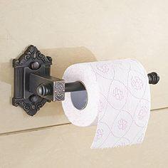 AUSWIND Vintage Carved Black Brass Toilet Paper Holder Hexagon Base Roll Holder Bathroom Hardware sets k15 (Black)