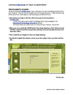 Using FreeRice.com in Your Classroom: Student Log & Directions