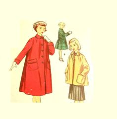 Vintage 1950s Coat Pattern Girls Size 8 by RebeccasVintageSalon, $8.00