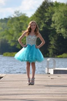 Beautiful short Bat Mitzvah dress from A Step Ahead Fashions.