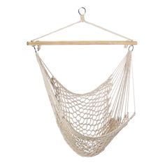 """This cotton hammock chair is perfect to hang on porch or branch. This comfy cradle will quickly become your favorite place to relax! Max. Wt.: 200 lbs. Cotton with wood stretcher. 39 1/4"""" x 46"""". 2 1/4"""