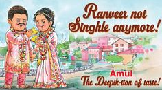 Amul celebrates Deepika and Ranveers Wedding with adorable doodle Utterly Butterly, Superstar, Bollywood, Nostalgia, Doodles, Relationship, Celebrities, Fun, Wedding