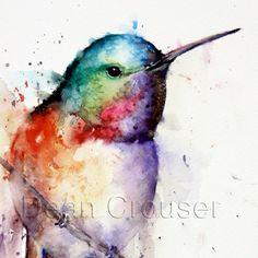 HUMMINGBIRD Watercolor Print by Dean Crouser por DeanCrouserArt
