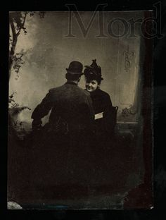 Unusual Abstract Tintype Photo Woman with Man Whose Back is to the Camera