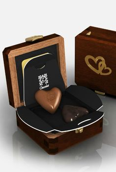 Romantic chocolate hearts packaging. I want some chocolate NOW! PD