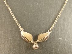 Made in the workshop, 9ct Yellow Gold, Champagne Diamond Leaf Necklace.