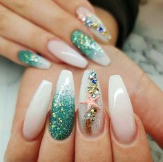 You can enjoy its beauty though without fear by using a starfish nail art design. You can buy starfish nail art decorations or you can have the starfish painted on your nails. Perfect Nails, Gorgeous Nails, Pretty Nails, Cruise Nails, Vacation Nails, Summer Acrylic Nails, Best Acrylic Nails, Mermaid Nail Art, Little Mermaid Nails