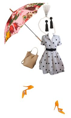 """""""622. """"Under the Flowers"""" Black and White Polka Dot Dress, Nude Bag, Tassel Jewelry, Floral Print Umbrella and Orange Heels."""" by misnik ❤ liked on Polyvore featuring Oscar de la Renta and vintage"""