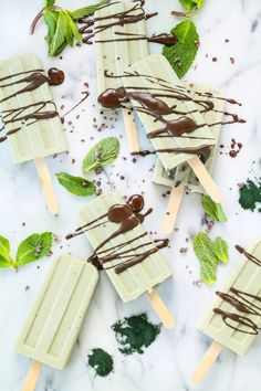Mint chocolate popsicles. Gluten free and vegan. These have a super food ingredient from Eat Good 4 Life