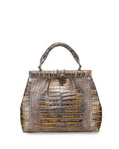 NANCY GONZALEZ Crocodile Medium Pleated Satchel Bag, Gold/Multi. #nancygonzalez #bags #hand bags #satchel #