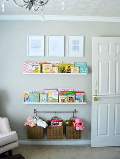 How fantastic are these: hanging baskets toy storage nursery organization and last but not least the door.the room is filled with character .as the person grows the room can grow with the same concept just updated to fit the moment in time.
