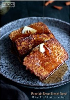 This decadent yet healthy low carb & gluten free pumpkin bread french toast is perfect for a leisurely weekend breakfast or brunch! Keto & Atkins friendly!