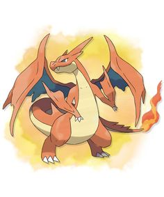 Mega Charizard Y - 006 - When expelling a blast of superhot fire, the red flame at the tip of its tail burns more intensely. Its wings can carry this pokemon close to an altitude of 4,600 feet. It blows out fire at very high temperatures.  @PokeMasters.net