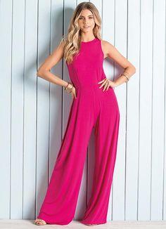 Macacão Pantalona (Pink) sem Mangas