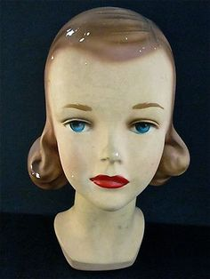 Authentic Young Girl Mannequin Head Marked 32 RARE Beautiful Vintage | eBay