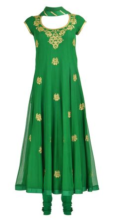 Amrita Thakur's Emerald green pure chiffon panelled kurta set with sequin embroidered bootis all over. It comes with an embroidered net dupatta and a crepe churidaar. Shop at https://www.perniaspopupshop.com/whats-new/amrita-thakur-3