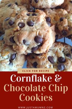 Chocolate Chip Cornflake Cookies - Just a Mum - These cornflake cookies are delicious and easy. Made with simple ingredients, kids will love them, Perfect for lunch boxes. Cereal Recipes, Baking Recipes, Cookie Recipes, Dessert Recipes, Baking Blogs, Fall Desserts, Delicious Desserts, Yummy Food, Cornflake Cookies Recipe