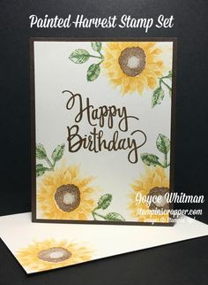 Sneak Peek Painted Harvest by - Cards and Paper Crafts at Splitcoaststampers Happpy Birthday, Fall Birthday, Handmade Birthday Cards, Happy Birthday Cards, Handmade Cards, Stampin Up Karten, Sunflower Cards, Mini Christmas Tree, Christmas Cookies
