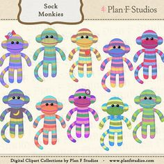 Cute Sock Monkey Clip Art Collection For Personal by planfstudios, $3.99