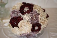 Vintage Inspired Fabric Flower Bouquet, Lace Bridal Bouquet, Cream, Dusty Pink…