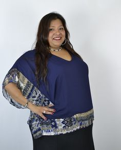 Timeless Pretty Plus Size Printed Poncho Kimono Top - Navy - Debra's Passion Boutique - 2