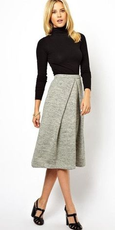 Work Outfit Idea: black fitted turtleneck w/ statement knee-length skirt | Skirt the Ceiling