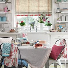 Shabby-chic kitchen with floral furnishings