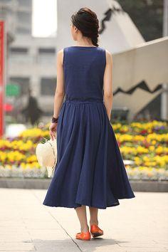 Purplish Blue Maxi Dress Women's Linen Dress by Lantingstyle