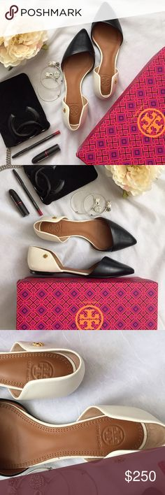 Tory Burch Viv d'Orsay flats Brand new authentic Tory Burch Viv two tone d'Orsay flats are so gorgeous!! So simple and classic that it'll be a staple to any wardrobe! Having a hard time letting these go so PRICE IS FIRM unless bundled! These shoes do run a little big by a half size (these are size 7, but I'm normally 7.5). Tory Burch Shoes Flats & Loafers