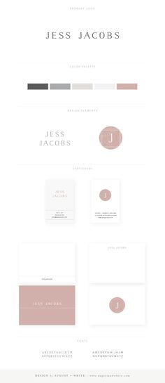 Jess Jacobs Brand Board   Branding and Logo Design by August + White