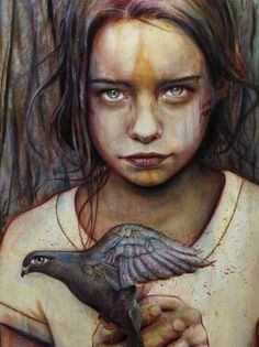 """Kierra"" - Michael Shapcott {figurative art female girl face with bird portrait painting} Eerie !!"