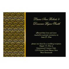 Ornate Gold Hearts on Black Reception Only #postwedding #receptiononly #50thanniversary #gold #hearts