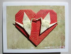 Origami Valentine's heart with cranes
