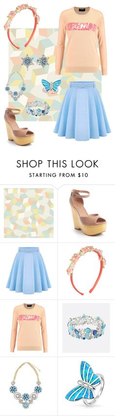 """Peach + Blue"" by demonqueen99 ❤ liked on Polyvore featuring Cole & Son, Joie, Markus Lupfer, Avenue, Bling Jewelry and Pandora"
