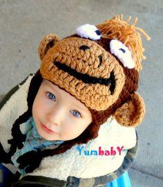 Boy Monkey Hat Newborn, 0-3, 3-6, 6-12 month, Toddler, Infant Monkey Brown Great Photo Prop, Baby Earflap Hat