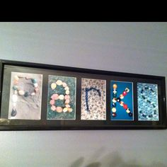 I've made a bunch of these for gifts and wedding presents. Just find cute little items to make each letter, take a picture and frame their last name. I believe I got most of the frames at Christmas Tree Shops and Kohls. Wicked cute and cheap!